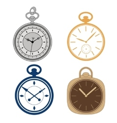 Pocket watch set isolated on white background vector image