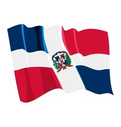 political waving flag of dominican republic vector image