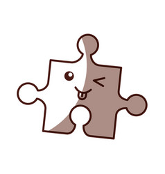 Puzzle pieces kawaii character vector