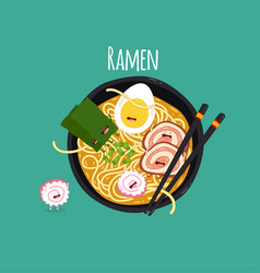 ramen top view time for vector image