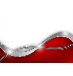 Red and silver color geometric wave abstract vector