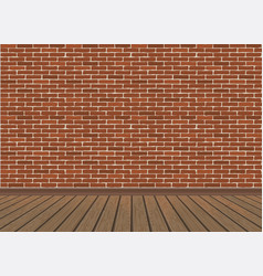 Red brick wall and wooden floor vector
