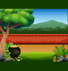 Red brick wall background with pot of coins vector