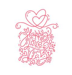 Red monoline calligraphy phrase happy love vector