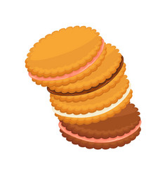 Sandwich biscuits filled with cocoa strawberry vector