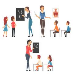 school education set teachers teaching students vector image