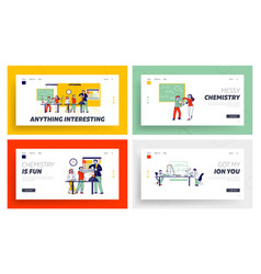 Schoolchildren characters on chemistry lesson in vector