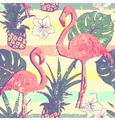 Seamless pattern with flamingo birds and vector