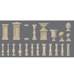 Set of random style balusters with stands vector image