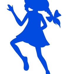 Silhouette of cartoon girl vector