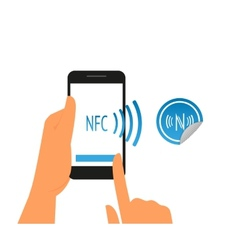 Smartphone with nfc function and mobile tag vector image