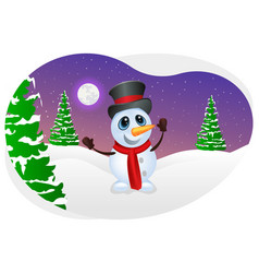Snowman enjoying snowfall vector