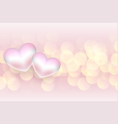 Soft 3d hearts valentines day bokeh background vector