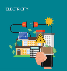 solar panels electricity concept flat vector image