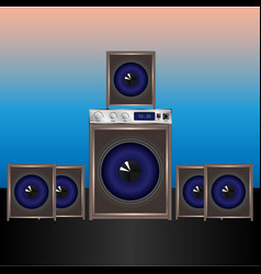 sound system for pc 51 home theater vector image