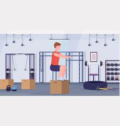 Sports man doing box squat exercises guy jumping vector