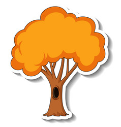 Sticker template with autumn tree isolated vector