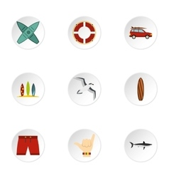 Surfing club icons set flat style vector