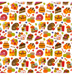 sweet food flat seamless pattern vector image vector image