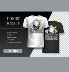 T-shirt template fully editable with skull and vector