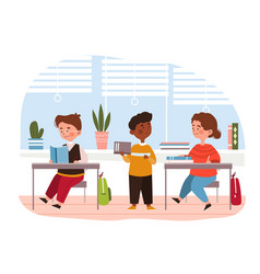 Three diverse young children in classroom vector