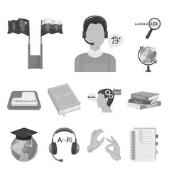 translator and linguist monochrome icons in set vector image