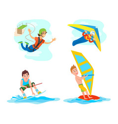 Water fun extreme sports set windsurfing gliding vector