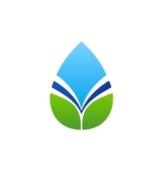waterdrop leaf logo water drop and natural leaves vector image