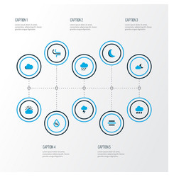 weather icons colored set with breeze drop vector image