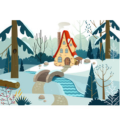 winter forest with a house and a bridge over vector image