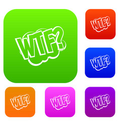 Wtf comic book bubble text set color collection vector