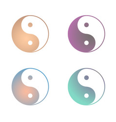 Yin yang colourful set symbol dualism in vector
