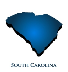 3D Graphic Map Of South Carolina State vector image
