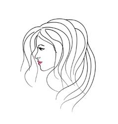 art sketching girl profile face symbols vector image