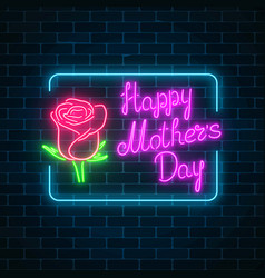 glowing neon banner of world mothers day on dark vector image