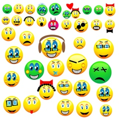 many emoticons vector image vector image