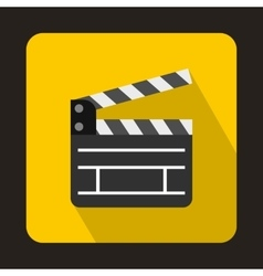 Open clapperboard icon flat style vector image