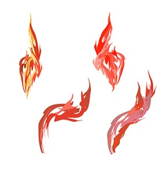Set flame Fire on a white background vector image