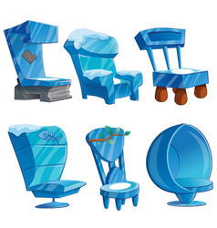 set of chair interior made of ice vector image vector image