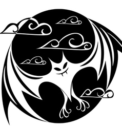 stylized image of a bat in the circle vector image vector image