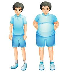 A thin and a fat boy in a blue gym uniform vector