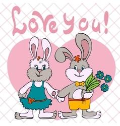 bunnies love girl and boy vector image vector image