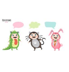 children in costumes communicate vector image