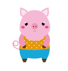 cute pig children style isolated design element vector image
