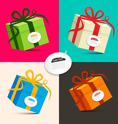 Gift Boxes - Retro Colored Paper Present Box Set vector image