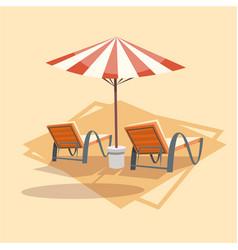 Lungers under umbrella icon summer sea vacation vector