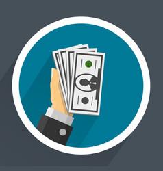 money in hands vector image vector image