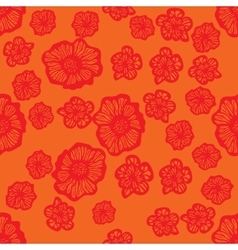 Orange and red seamless flower pattern vector image