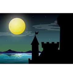 Silhouette castle vector image