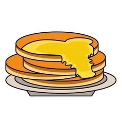 delicious pancakes maple syrup outline vector image